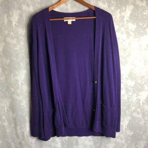 Michael Kors purple cardigan sweater
